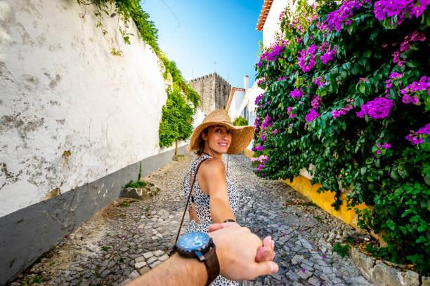 a walk in the streets of obidos, portugal - portugal imagens e fotografias de stock