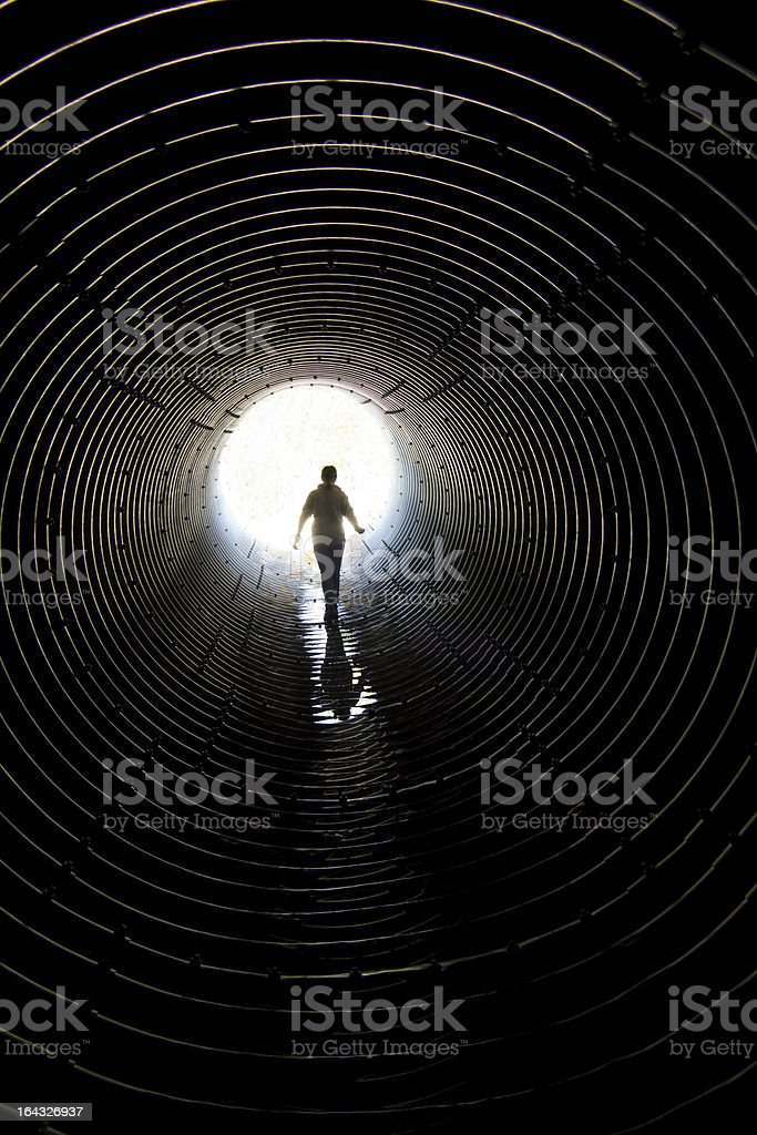 Walk in the tunnel stock photo