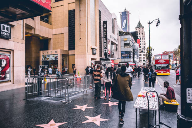 Walk of Fame and Crowd People on the Walk of Fame on the front of Dolby Theatre in Los Angeles (Hollywood), California. walk of fame stock pictures, royalty-free photos & images