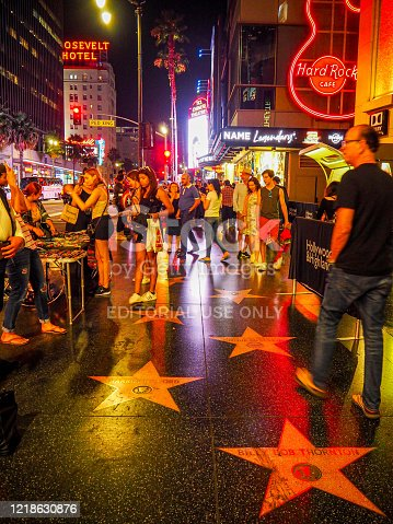 On 20th July 2019, tourists were walking at night on Walk of Fame in Los Angeles
