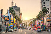 Los Angeles, United States - December 18, 2013: View of Hollywood Boulevard at sunset. In 1958, the Walk of Fame was created on this street as a tribute to artists working in the entertainment industry.
