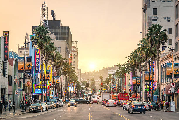Walk of fame - Hollywood Boulevard in Los Angeles stock photo
