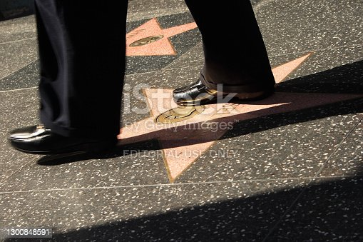 Los Angeles, California, USA - May 3, 2008: Walk of Fame, Hollywood, Los Angeles with a man walking on the stars.