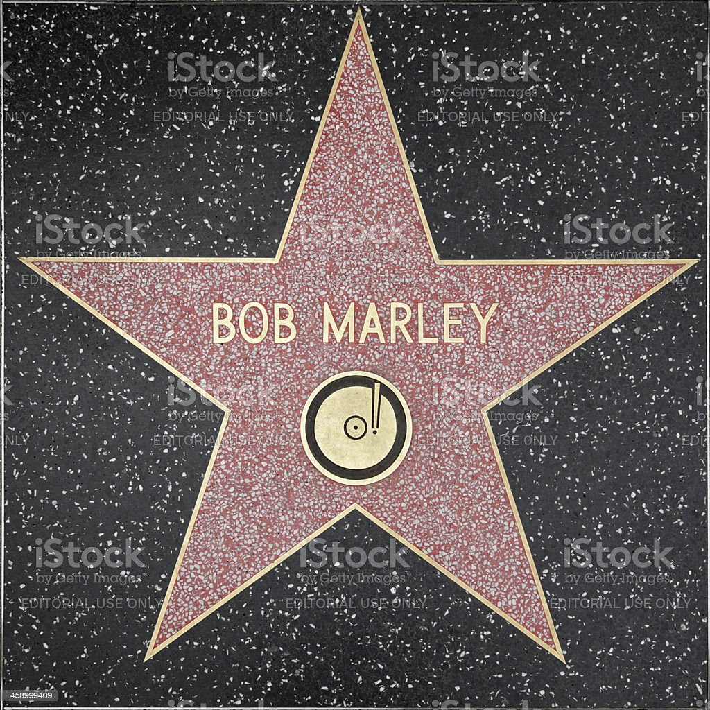 Walk of Fame Hollywood Star - Bob Marley bildbanksfoto