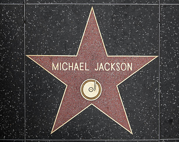 Walk of Fame Hollywood Star - Michael Jackson Los Angeles, USA - March 6, 2012 - Star of Michael Jackson at the pavement of the Walk of Fame in Hollywood. The star is reserved for the name of a celebrity. hollywood boulevard stock pictures, royalty-free photos & images