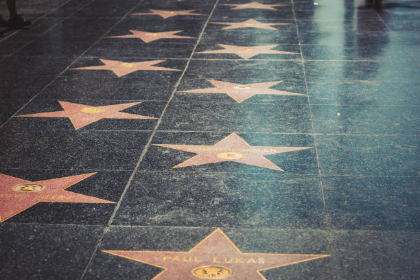 Walk of Fame in Hollywood Hollywood, Los Angeles - Jul 29, 2017: Hollywood stars on the Walk of Fame in Los Angeles, California, on July 29, 2017 in Hollywood, California. walk of fame stock pictures, royalty-free photos & images