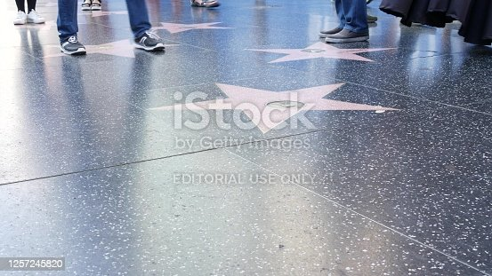 Los Angeles, USA - March 6, 2012 - Empty star shape at the pavement of the Walk of Fame in Hollywood. The star is reserved for the name of a celebrity from the entertainment industry.