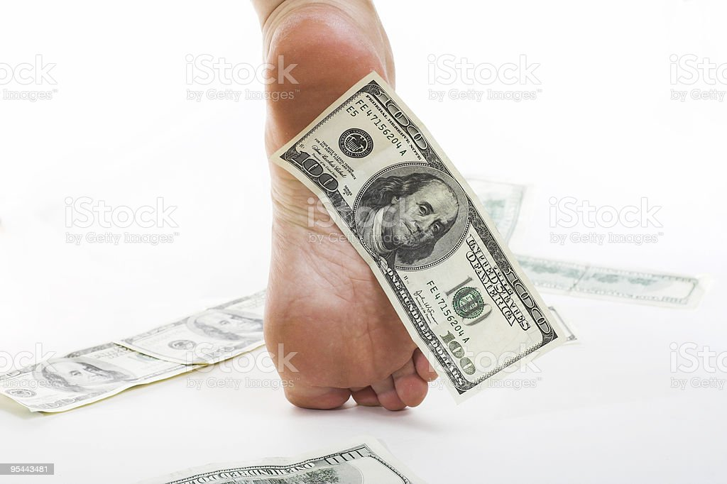Walk on American dollars - business concept stock photo