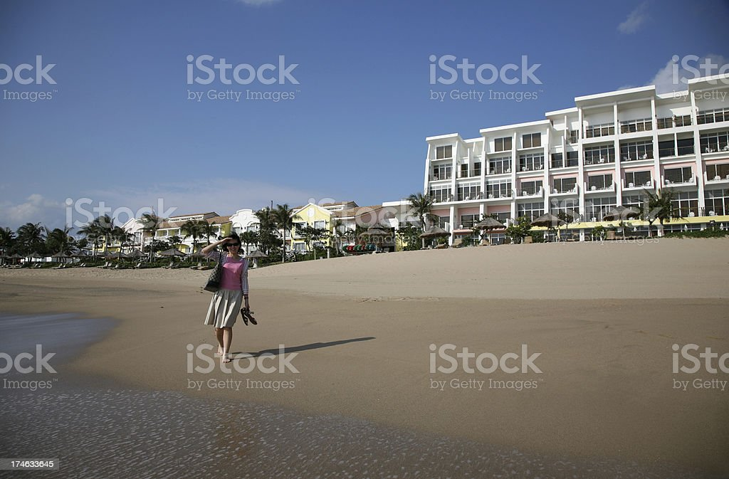 Walk on Beach Resort stock photo