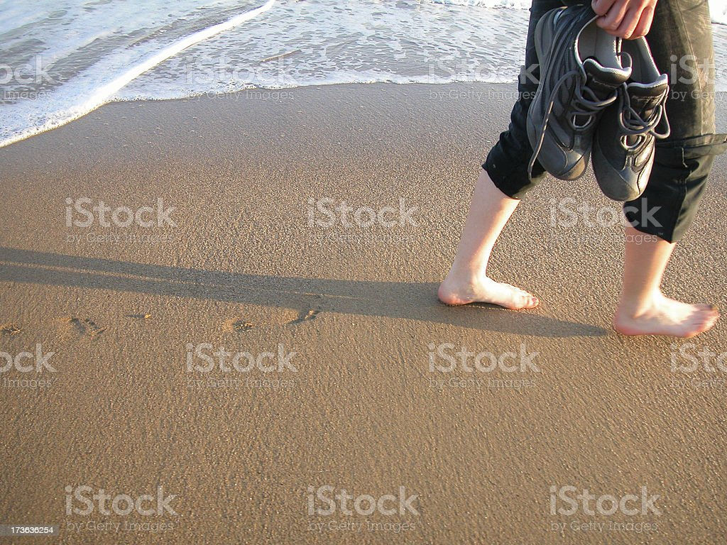 walk on sand royalty-free stock photo