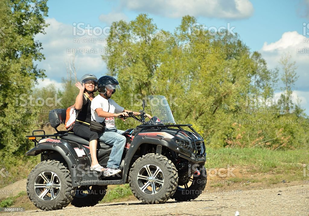 Walk on the ATV. stock photo