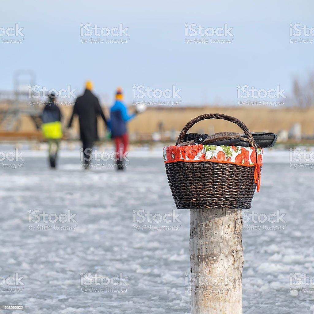 Walk on the ice of Lake Neusiedl stock photo