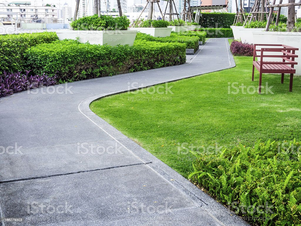 Walk path in the roof garden stock photo