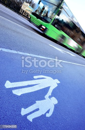 1060957508 istock photo Walk path symbol and green bus 175454333