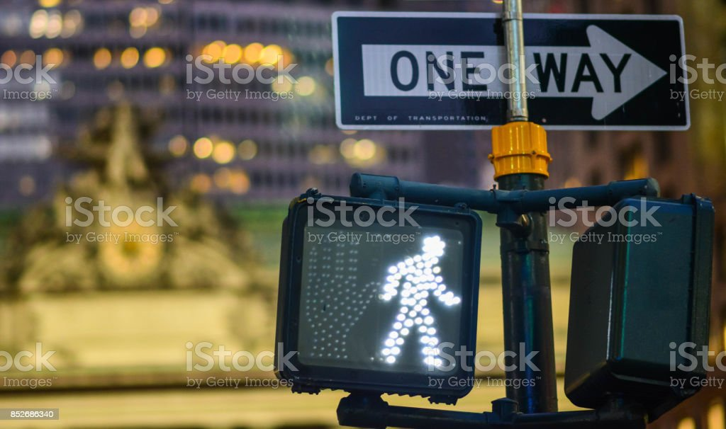 walk sign in NYC stock photo