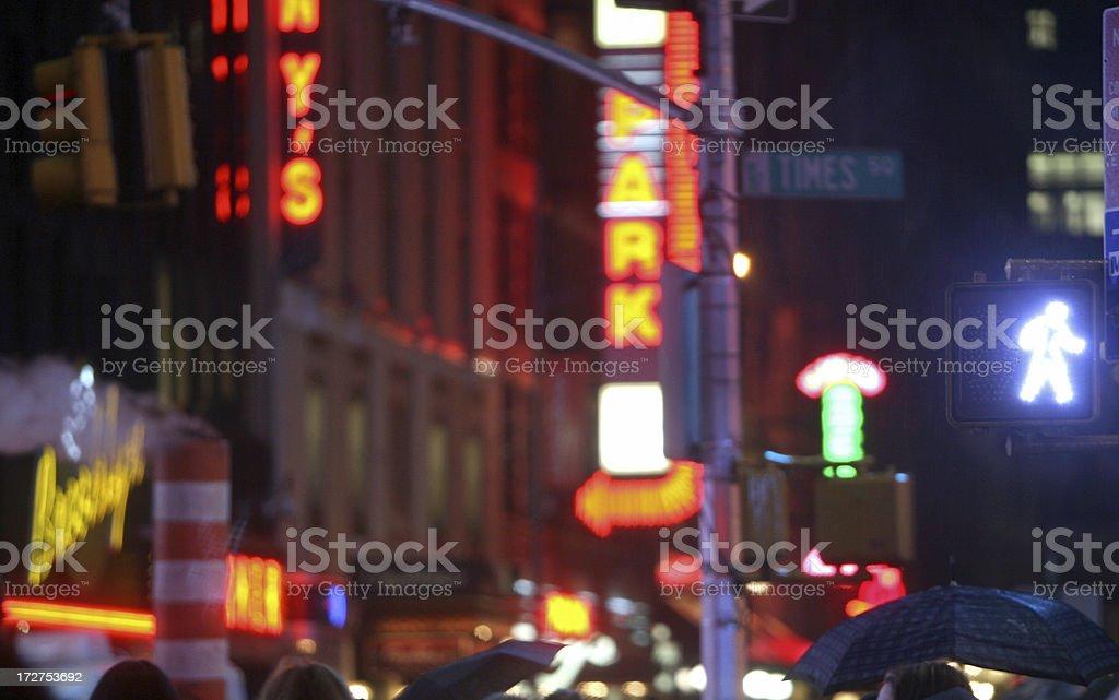 Walk Signal At Night royalty-free stock photo
