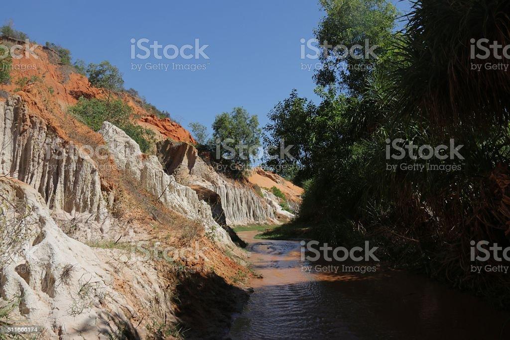 Walk through the Fairy Stream Vietnam stock photo