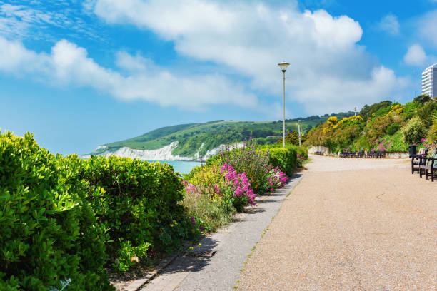 loop naar holywell strand, eastbourne - east sussex stockfoto's en -beelden