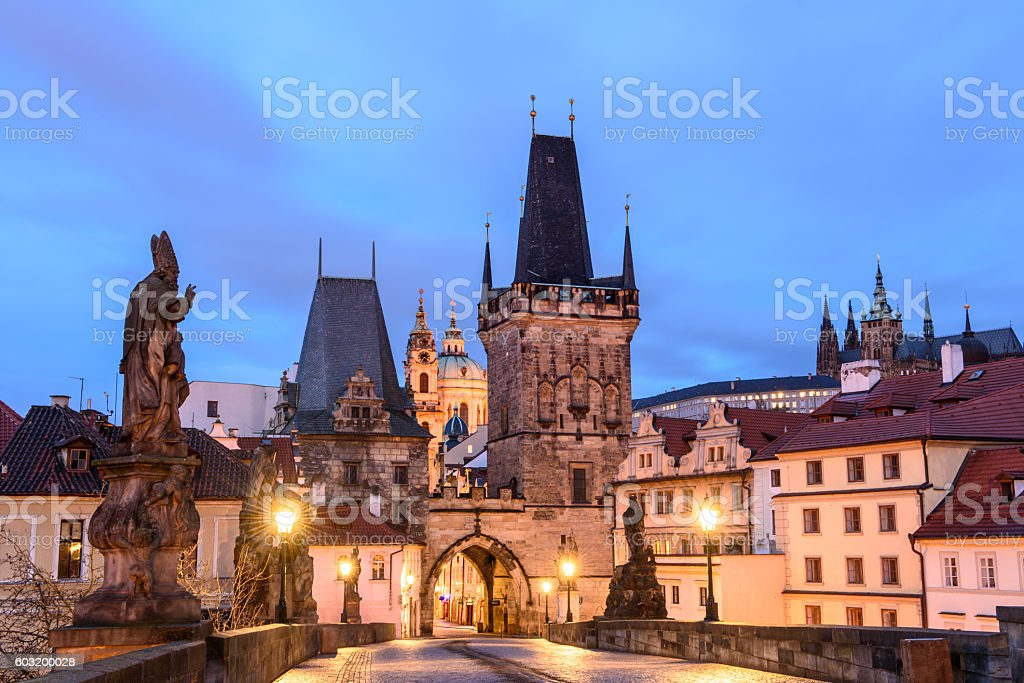 walk to nightlife Prague stock photo