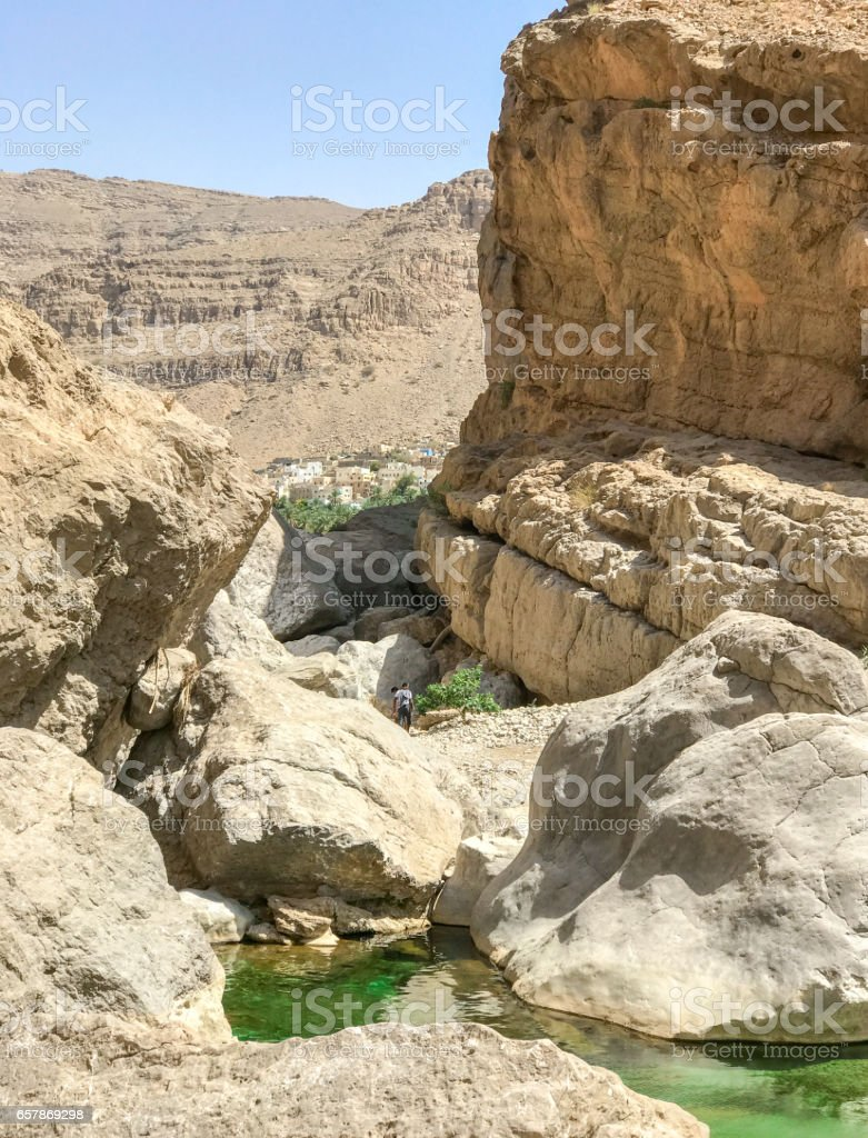 Walk to Wadi Bani Khalid lakes in Oman stock photo
