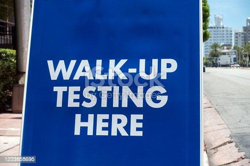 Walk up testing sign