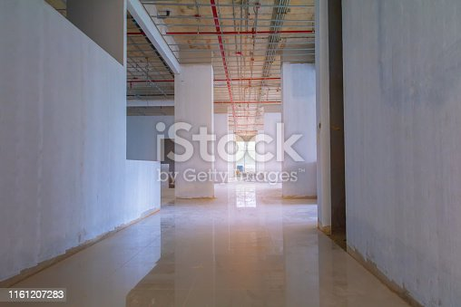 walk way interior decoration in construction building site with sun light tone