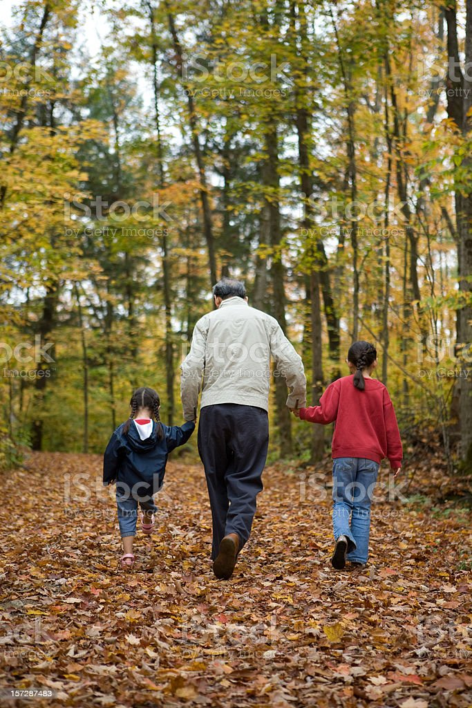 Walk with Grampa royalty-free stock photo