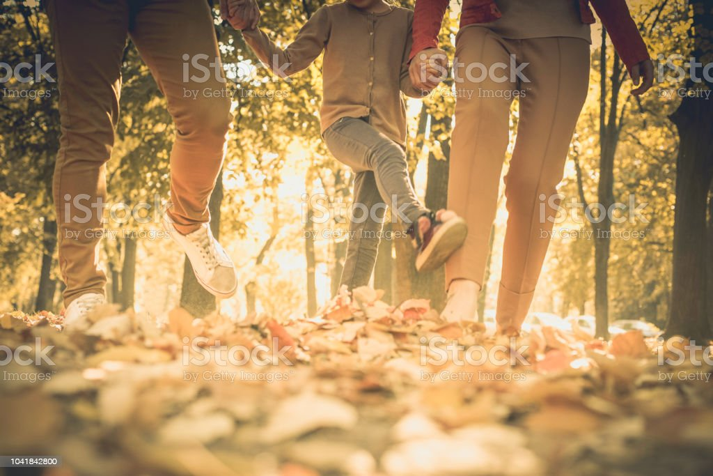 Walk with me. Family on the first place. Autumn season. stock photo