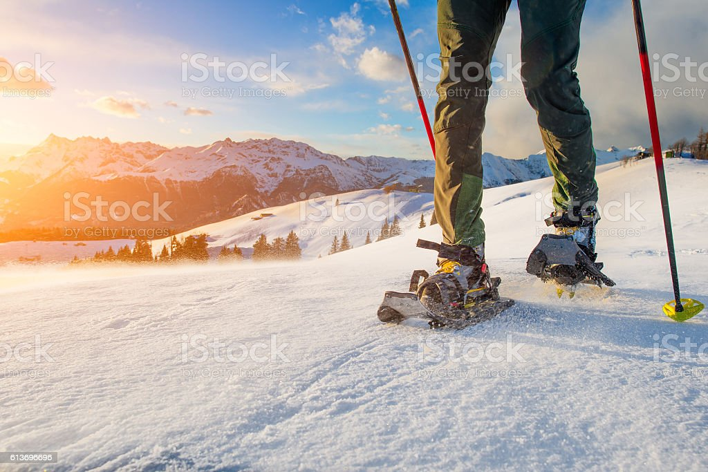 Walk with snowshoes stock photo