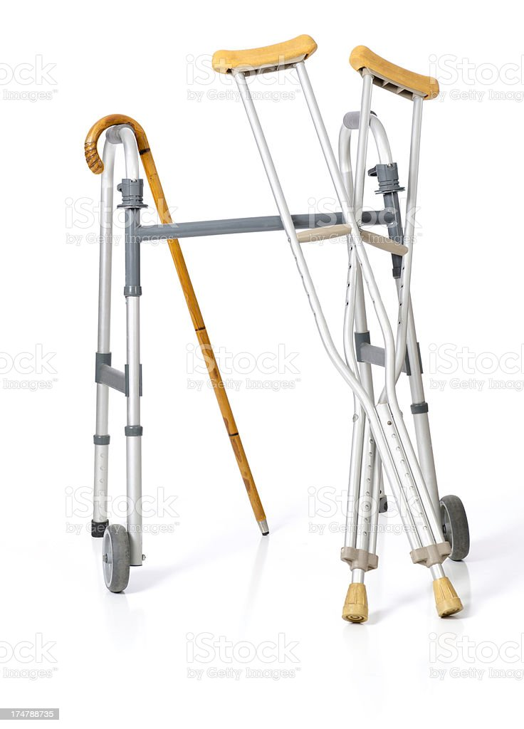 Walker, Crutches and a Cane on 255 White Background stock photo