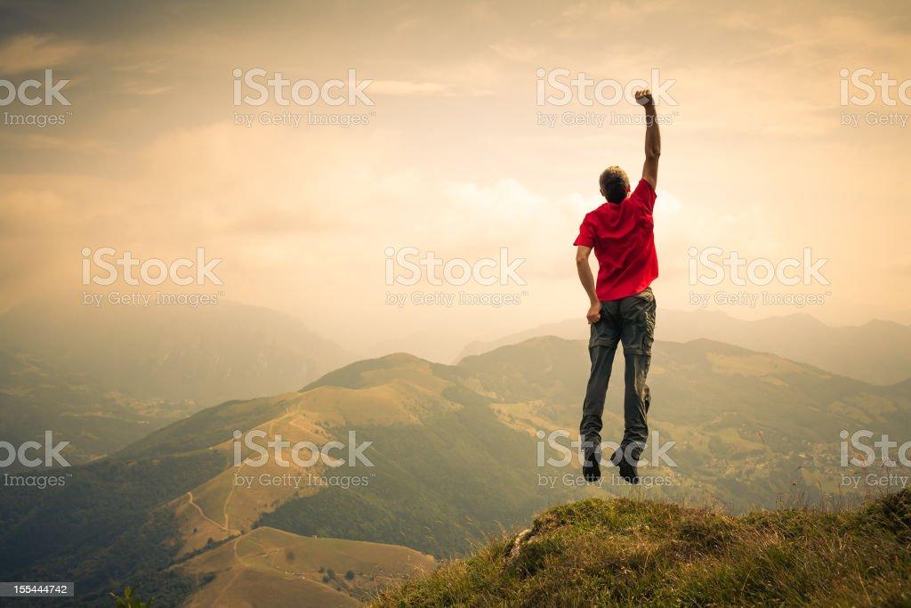 Walker Hiker Men Jump for Flight royalty-free stock photo
