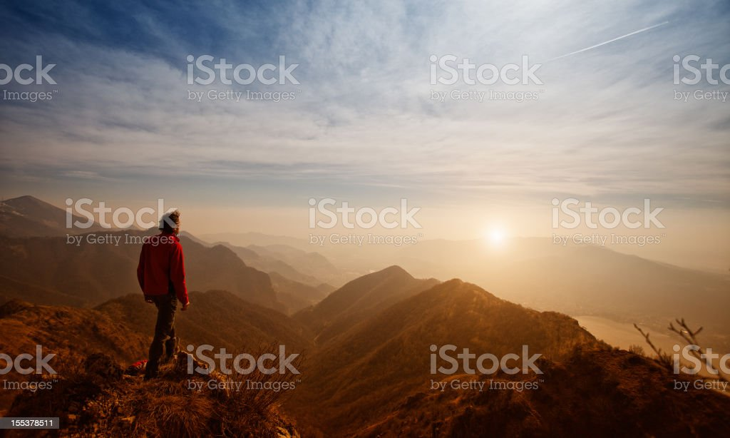 Walker Hiker Men on top of the Mountain stock photo