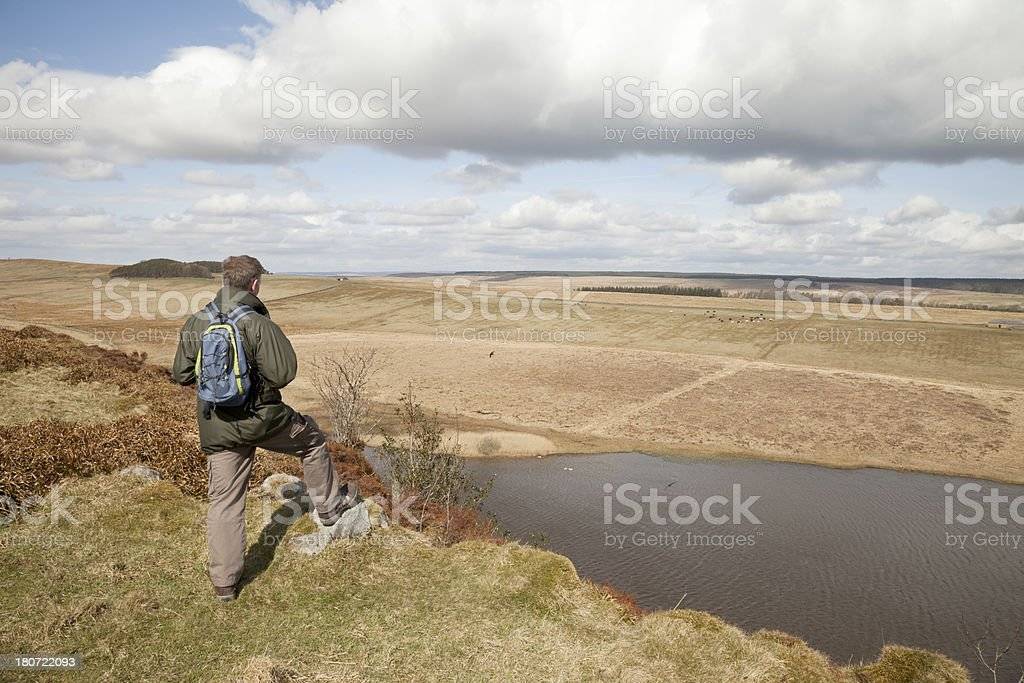 Walker in Hadrian's Wall Country royalty-free stock photo