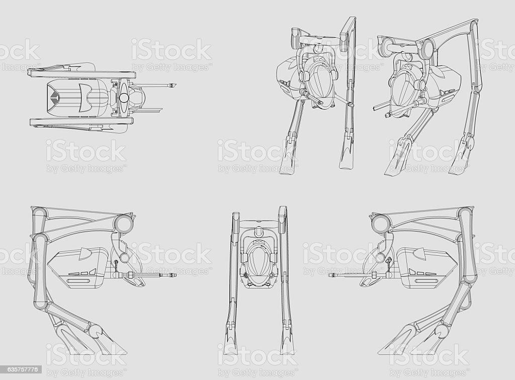 Walker Vehicle  origInal design produced on 3D CAD. stock photo