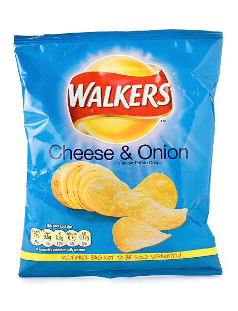 walkers cheese and onion crisps on a white background - crisp packet stock photos and pictures