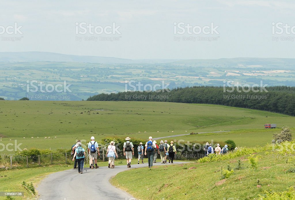 Walkers in Wales royalty-free stock photo