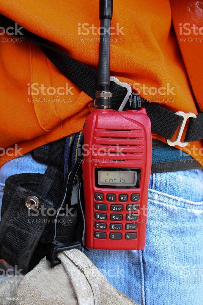 walkie-talkie radio on work site. stock photo