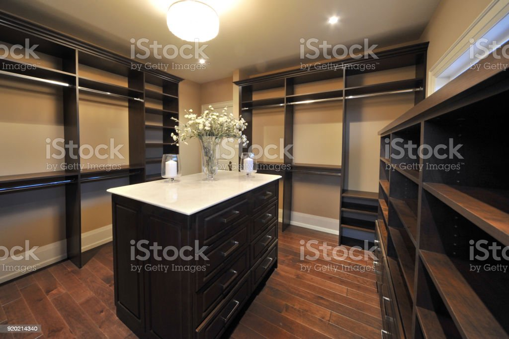 Walk-in Closet White stock photo
