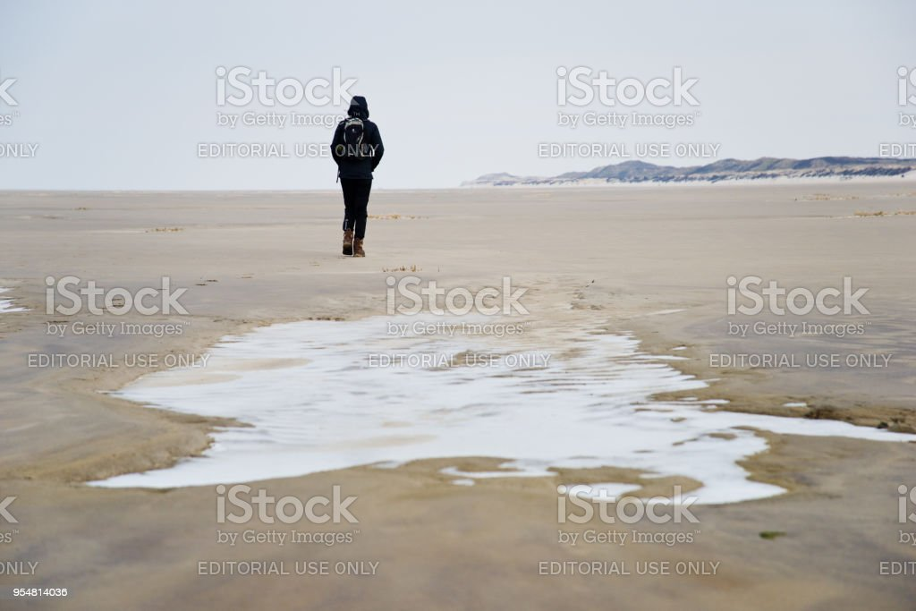 Walking across a winterly beach at the Northsea stock photo