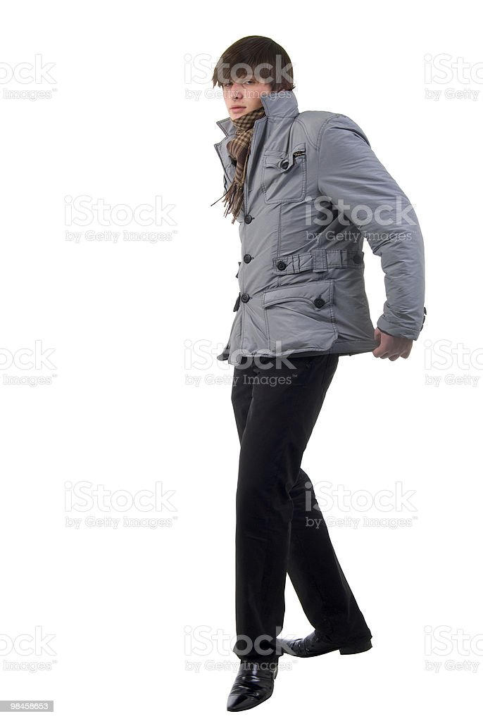 Walking Adult Fashion Boy. Side View. royalty-free stock photo