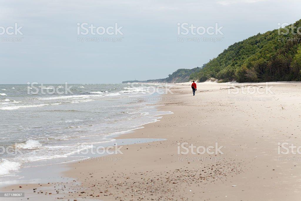 Walking alone along seashore stock photo