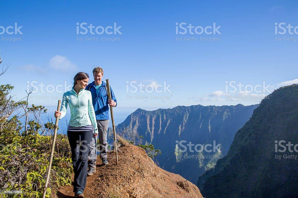 Walking Along a Mountain Edge stock photo