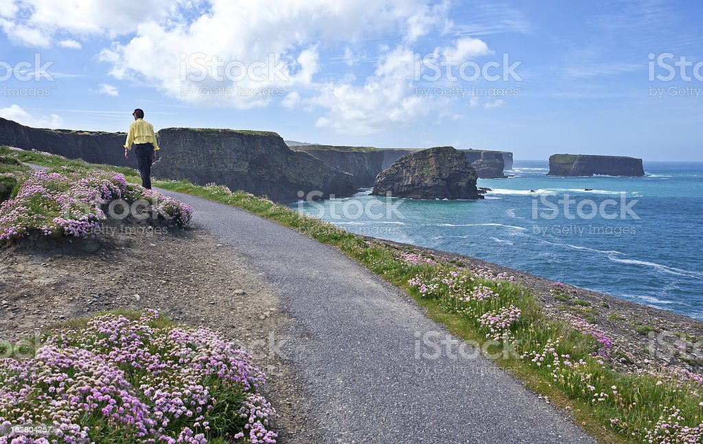 Walking Along Kilkee Coastline in Spring royalty-free stock photo