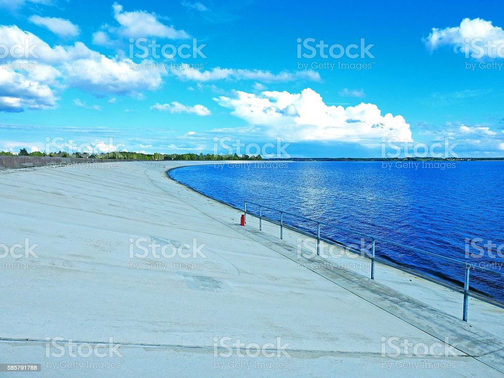Walking along the Dam stock photo