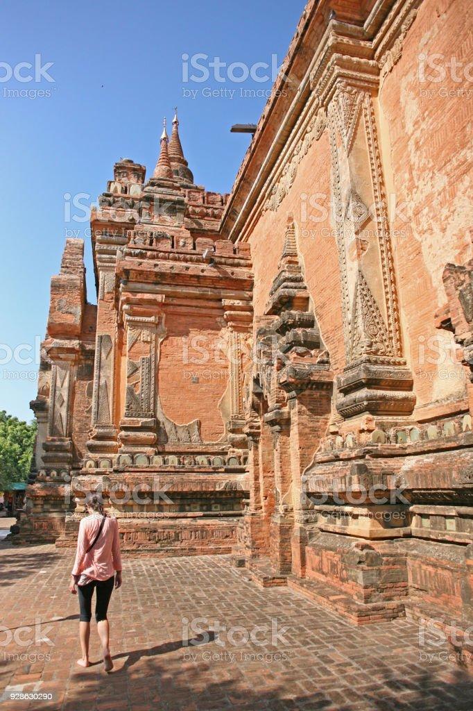 Walking around Bagan temple stock photo
