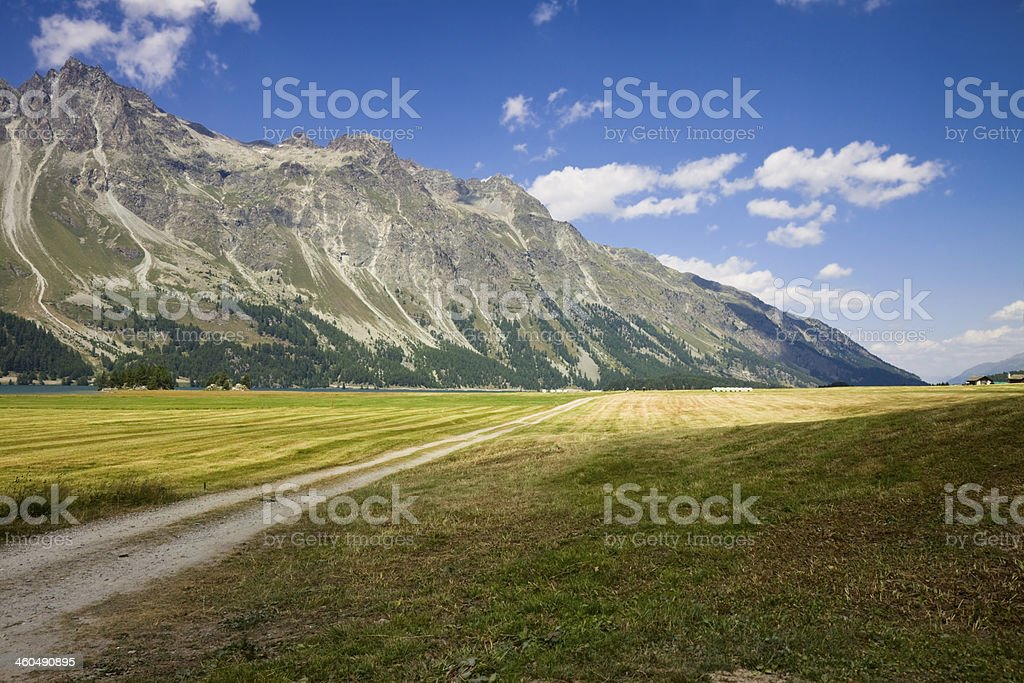 Walking around Sils lake (Switzerland) royalty-free stock photo