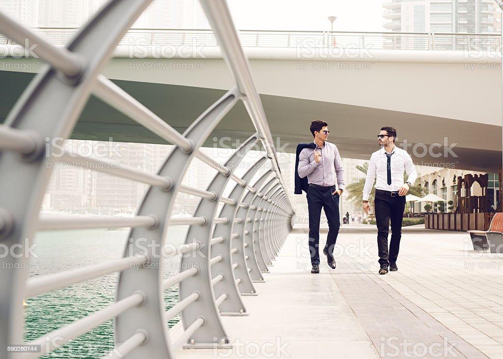 Walking at Dubai Marina. stock photo