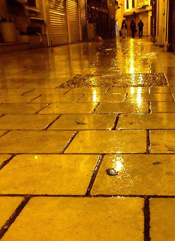 Walking at rain