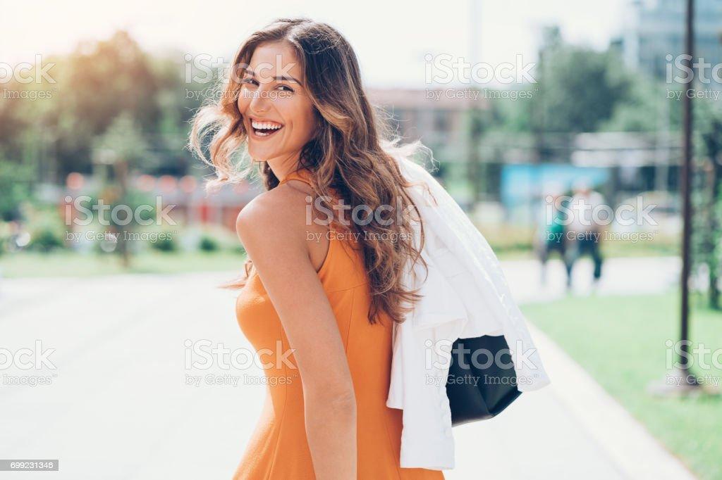Walking at sunshine stock photo