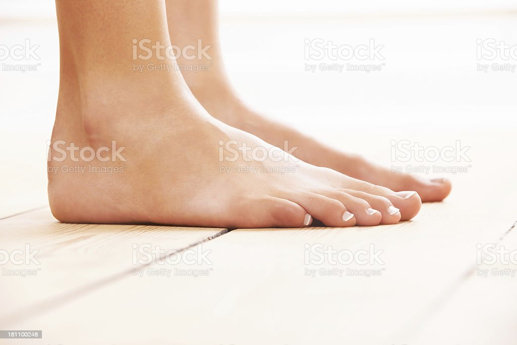 Walking barefoot stock photo